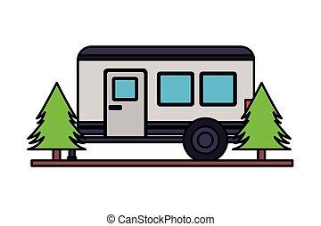 campare släpvagn, träd