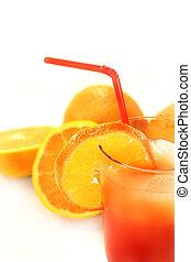 Campari Orange - a glass of Campari orange and ice cubes