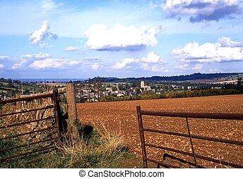 campden, uk., tierras labrantío, lasca