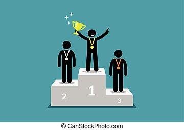 campeão, ficar, ligado, um, pódio, com, primeiro, e, segundo, corredor, cima.
