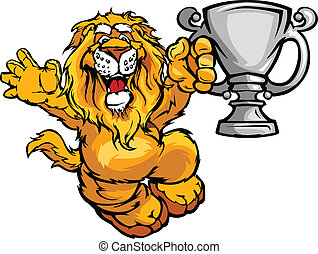 campeão, imagem, leão, vetorial, caricatura, feliz