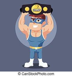 campeão, wrestler, segurando, cinto