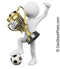 campeón, fútbol, -, jugador, mundo, 3d