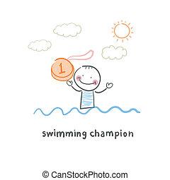 campeón, natación