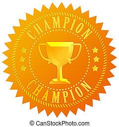 campeón, sello oro
