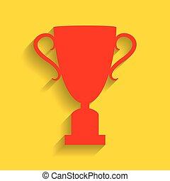 campeões, copo, sinal., vector., vermelho, ícone, com, macio, sombra, ligado, dourado, experiência.