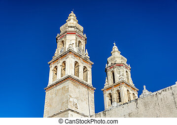 Spires of the cathedral in Campeche, Mexico