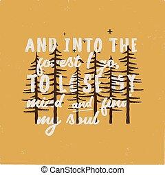 campeggiare, foresta, grafico, insignia., andare, trovare, anima, retro, perdere, typography., badge., inverno, t-shirt, estate, mente, vector., insolito, avventura, vendemmia, mio, viaggiare, casato, prints.