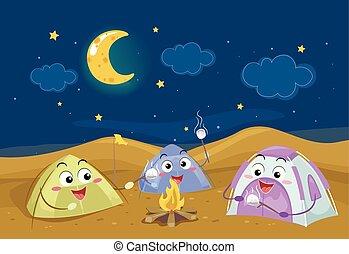 campeggiare, illustrazione, notte, tenda, deserto, mascotti