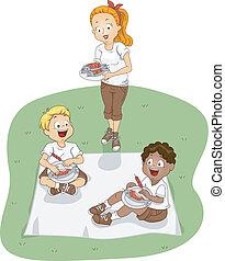 campeggiare, picnic