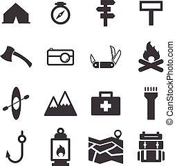 campeggiare, set, icona