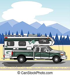 campeggiatore, camion, verde