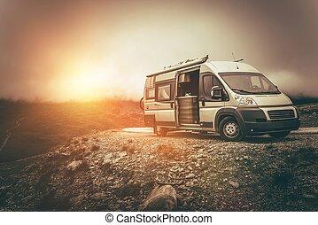 campeggiatore,  RV, viaggio, nord
