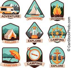 campeggio, avventura esterna, vettore, set., tesserati magnetici