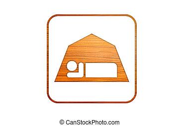 campeggio, e, esterno, icona