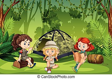 campeggio, esploratori, ragazza, fuori