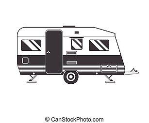 campeggio, famiglia, contorno, camion, viaggiatore, roulotte, icona
