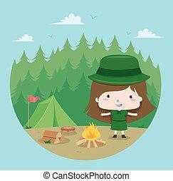 campeggio, illustrazione, esploratore, foresta, ragazza, capretto