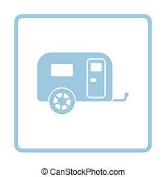 campeggio, roulotte, icona, automobile famiglia