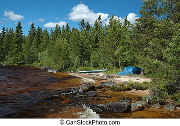 campeggio, russia, polare, riva, kayaking, karelia