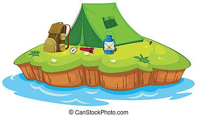 campeggio, su, un, isola