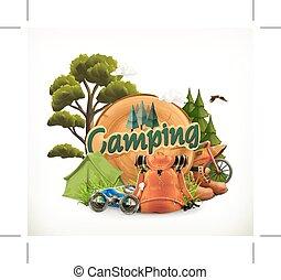 campeggio, vettore, illustrazione