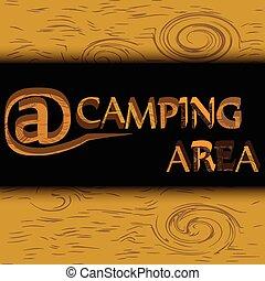 campeggio, zona, legno, segno