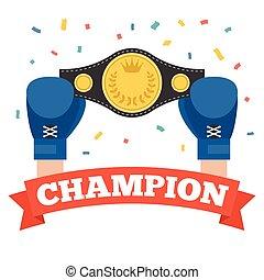 campeonato, boxe, segurando, cinto