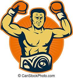 campeonato, campeón, boxeador, guantes, levantar, cinturón