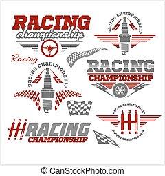 campeonato, car, emblemas, vetorial, raça, correndo, emblemas