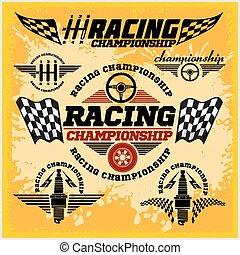 campeonato, coche, emblemas, vector, carrera, carreras, ...