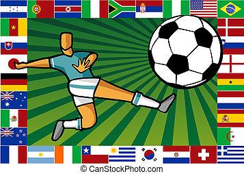 campeonato, copo, cartaz, áfrica, futebol, sul
