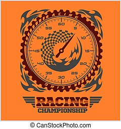 campeonato, correndo, emblem.
