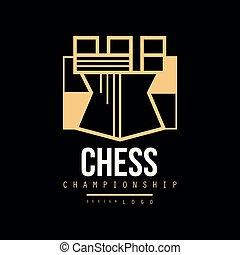 campeonato, emblema, ilustração, vetorial, xadrez, logotipo, torre, desenho