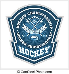 campeonato, labels., vetorial, desenho, hóquei, logotipo,...