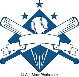 campeonato, o, liga, beisball, emblema