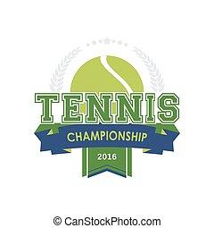 campeonato, tenis, emblema, vector.