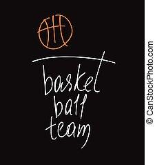 campeonato, vetorial, modelo, logotipo, bal, basketball.