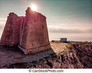 Camper at Mesa Roldan tower, Spain