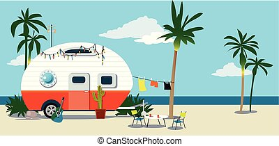 A camper trailer at the beach under palm trees, EPS 8 vector illustration