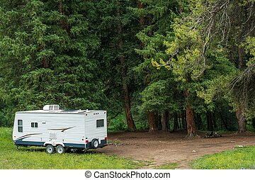 Camper Boondocking - Boondocking Dry Camping in the Forest. ...
