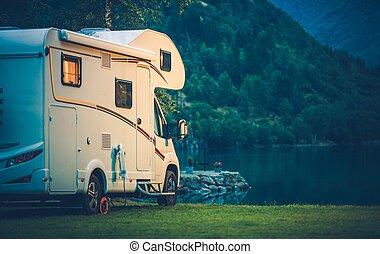 Camper Camping at the Lake