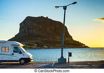 Camper car and Monemvasia island, Greece