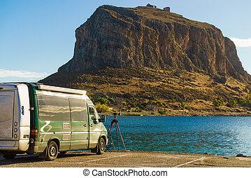 Camper car and Monemvasia island, Greece - Camper car and ...