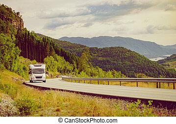 Camper car on road trip