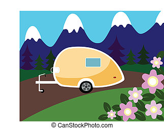 Illustration of a camper parked in the mountains.