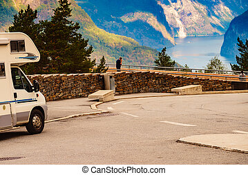 Camper on parking area at Stegastein viewpoint Norway