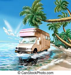 Camper on the ocean beach - 3d classic illustration, camper...