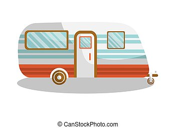 Camper trail of camper bus of van. Vector isolated flat icon...