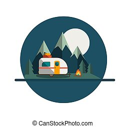 Camper Trailer Badge with Mountain and Moon
